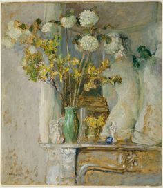 ❀ Blooming Brushwork ❀ - garden and still life flower paintings - Edouard Vuillard (1868-1940).  Guelder Roses and the Venus of Milo, 1905
