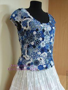 Купить Кружево от Мирославы Горохович №27 - синий, цветочный, Вязание крючком, ирландское кружево, кружево