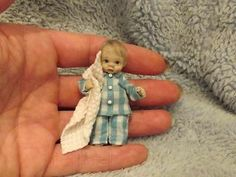 Miniature handmade MINI BABY BOY TODDLER READY FOR BED ooak DOLLHOUSE ART DOLL