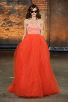 Ahh I love the striped bodice and the full skirt. Beautiful.