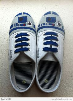 R2-D2 Hand painted shoes- not even sure what board to put this on :D