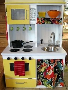 "re-purposed furniture So cute!  This is an adorable ""kitchen""!"