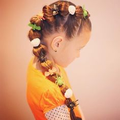 """Classic Halloween hairstyle with the Halloween rings. This time to change it up a little I did the bubble braid down the side. She had fun picking out what rings she wanted in her hair. "" Photo taken by @sheerbraidedbliss on Instagram, pinned via the InstaPin iOS App! http://www.instapinapp.com (10/27/2015)"