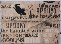 Halloween Notecard, Witch on the Move Card, Rustic Halloween Notecard, October…