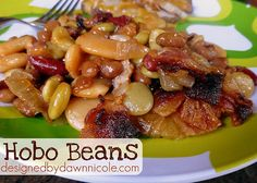 Hobo Beans Recipe Side Dishes with red kidney beans, butter beans, pork and beans, lima beans, bacon, onions, garlic powder, dry mustard, vinegar, brown sugar