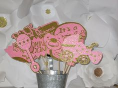 Pink and Gold Baby Shower Photo Booth Props made with all Glitter Paper