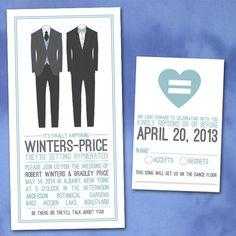 Custom Modern Groom Invitations for gay weddings or same-sex ceremonies.