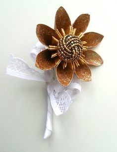 Paper Flower Origami Wedding corsages gold glitter vintage button lace theme wrist ties alternative wedding accessories www.lilybellekeepsakes.com buttonholes boutonniere
