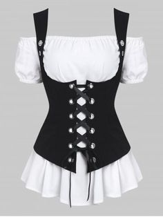 Off Shoulder Casual Blouse and Lace-up Waistcoat Set 9899 Best Dresses & Fashion images in 2019 Cute Tops, Gothic Fashion, Fashion Outfits, Fashion Site, Men Fashion, Fashion Images, Fashion Clothes, Style Fashion, Blouses For Women