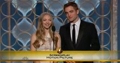 Rob & Amanda Seyfried presenting the award for best motion picture screenplay at the 2013 Golden Globes