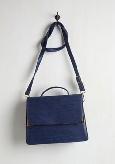 Elegant Education Bag. Fulfill your course credits in polished style with this navy shoulder bag - an exclusive style to ModCloth! #blue #modcloth