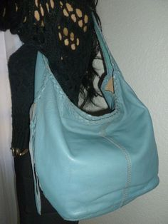 f1200b48cb LUCKY BRAND Blue Whipstitch Slouchy Leather Hobo Shoulder Bag Handbag Purse  | eBay Lucky Brand