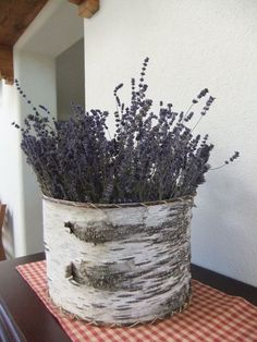 Oh, how lovely - a birch bark container, filled with my favorite fragrant plant, lavender.  I can imagine how this smells every time you walk by - it would be hard to resist touching it to release that delicious scent...
