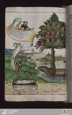 Vergänglichkeitsbuch – Cod.Don.123, 1565, Willhelm Werner von Zimmern; a skeleton (Death) aims at the tree of life. (via @Rosabelle McConkey Mss Meanderings  )