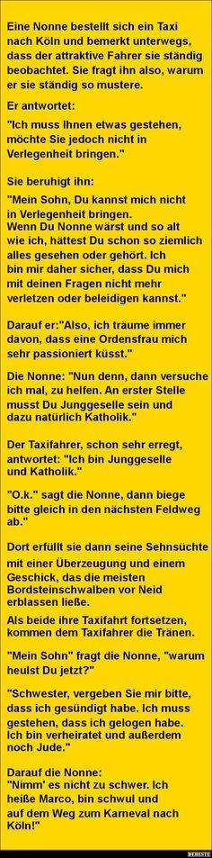 Eine Nonne bestellt sich ein Taxi nach Köln..   DEBESTE.de, Lustige Bilder, Sprüche, Witze und Videos