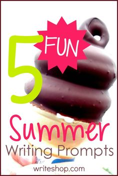 These fun summer writing prompts encourage reluctant writers to describe a frosty treat, invent a game, have fun with fireflies, and plan a vacation.