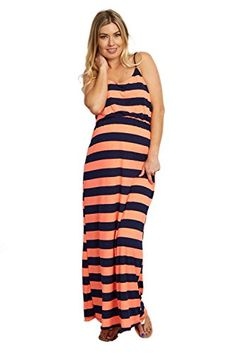 dce6988d25664 PinkBlush Maternity Neon Orange Striped Maternity Maxi Dress Medium * Check  out this great product.