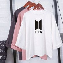 Harajuku Fashion Bts Kpop Tshirt Women Cotton T Shirt Elegant Korean Style Ladies Shirts Plus Size Summer Tops Camiseta Feminina(China) Korean Fashion Trends, Korean Street Fashion, Kpop Fashion, Trendy Fashion, Fashion Outfits, Korean Fashion Kpop Bts, Fashion Ideas, Fashion 2018, Bts Hoodie