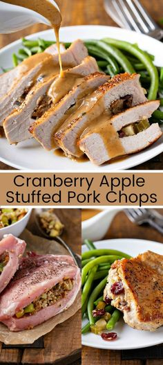 These Easy Stuffed Pork Chops Have The Best Homemade Gravy! - Cranberry Apple Stuffed Pork Chops: pork chops are stuffed with cranberries, apples and bread stuffing for an easy dinner idea that will impress your guests! Apple Pork Chops, Baked Pork Chops, Pork Roast With Apples, Easy Stuffed Pork Chops, Pork Chop Dinner, Pork Dishes, Pork Chop Recipes, Fall Recipes, Apple Recipes Dinner