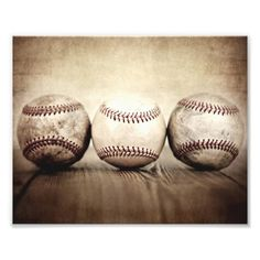 Three Vintage Baseball Art Photo #baby