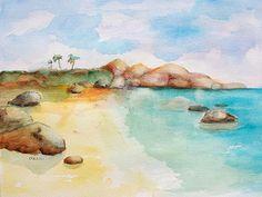 Virgin Rocks watercolor painting