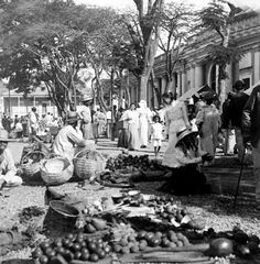 Somehow I see my father walking amongst this crowd way back when he was a little boy. Vintage Street Scene In Ponce - Puerto Rico - C 1899 Photograph - Vintage Street Scene In Ponce - Puerto Rico - C 1899 Fine Art Print