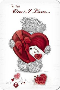 Love One Bear With Pillow Heart Cards Happy Birthday Teacher, Teddy Pictures, Valentine Picture, Online Greeting Cards, Tatty Teddy, Cute Teddy Bears, Heart Cards, Love Cards, How To Make Wreaths
