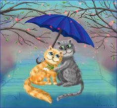 Влюблённая пара кошек, две трогательные очаровашки, излучающие любовь и нежность