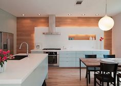 We have selected five basic details of contemporary kitchen designs.Contemporary kitchen designs are very sleek and minimalist in design. Contemporary kitchen detail is very streamlined with the focus on horizontal lines and asymmetry. Contemporary Kitchen Furniture, Modern Kitchen Design, Modern Kitchens, Modern Kitchen Images, Kitchen Photos, Kitchen Designs, Modern Contemporary, Kitchens Without Upper Cabinets, Kitchen Cabinets