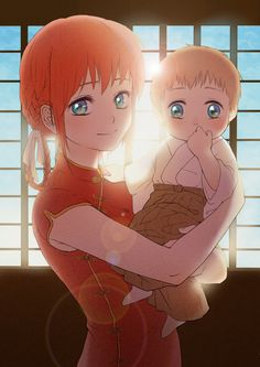 1boy 1girl absurdres baby blue_eyes braid brown_hair carrying chinese_clothes gintama highres if_they_mated japanese_clothes kagura_(gintama) long_hair mei_(oklaomei) mother_and_son orange_hair short_hair