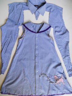 #refashioned mans #shirt sewnbyangela: Vestido de niña con cuello de marinero con cinta  #cinta #con #cuello #mans #marinero #niña #refashioned #sewnbyangela #shirt #vestido