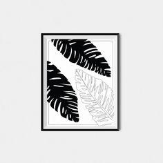 Banana Leaf Printable Printable Palm Leaf Art by BAECKANN Estilo Interior, Maria Teresa, Leaf Art, Modern Prints, Bananas, Print Patterns, Flora, Palm, Contrast
