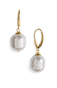 Majorica 12mm Baroque Pearl Drop Earrings available at #Nordstrom #wedding $75