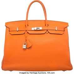 "Hermes 40cm Orange H Togo Leather Birkin Bag with PalladiumHardware. N Square, 2010. Very Good Condition. 15.5"" Width x1..."