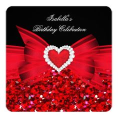Glitter Red Heart Bow Black Birthday Party Custom Invitations