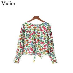 241ba3682b Women Puff Sleeve Floral Print Blouse Summer Cotton Short Shirt Elegant  Slim Ladies Casual Lace Up Tops