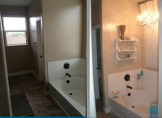 Master bath - Before/after painted garage sale chandelier and shelves and garage sale/Goodwill accents.