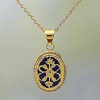 Blue Glass Floral Pendant Necklace Thewa 23k Gold India