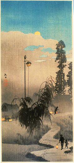 高橋松亭(弘明)Shotei Takahashi『矢口の渡し夕景』