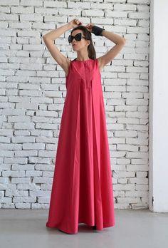 Buy Now SALE Pink Maxi Dress/Sleeveless Dress/Handmade Pink Long Dress/Oversize Kaftan Dress/Plus Size Available/Long Loose Fuschia Sleeveless Dress by Metamorphoza. Casual Dresses Plus Size, Plus Size Summer Dresses, Dress Plus Size, Elegant Dresses, Beautiful Dresses, Dress Casual, Pink Maxi, Pink Dress, Dress Black