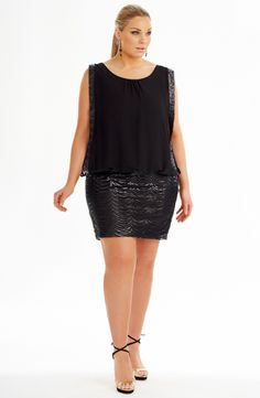 Loose Bodice Party Dress/Black Style No: ED5133 Sequined mesh and Georgette Party dress. This stunner has a fully lined sequined fitted skirt attached to a sleeveless bodice. The bodice features a loose overlayer on the front and back of georgette trimmed in the same sequin on the skirt. #dreamdiva #plussize #2013