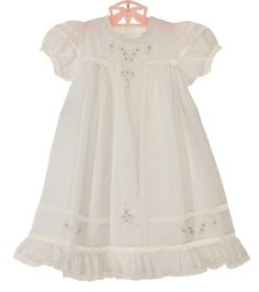 47ffb1b9fc76 NEW Remember Nguyen (Remember When) White Cotton Heirloom Style Dress with  Lace Insertion and Pink embroidery  45.00