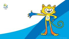 """Organizers of Rio 2016 have unveiled their Olympic and Paralympic mascots. For the Olympics, the mascot possesses the qualities of """"all the Brazilian animals"""" found in the eco-rich South American c… Olympic Mascots, Olympic Team, Olympic Games, Rio Olympics 2016, Summer Olympics, Emoji Wallpaper, Disney Wallpaper, Brand Character, Samsung Galaxy"""