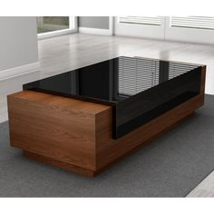 Furnitech Signature Home Rectangle White Oak and Black Lacquer Wood Coffee Table Tea Table Design, Wood Table Design, Coffee Table With Seating, Unique Coffee Table, Centre Table Living Room, Center Table, Living Room Designs India, Unique Dining Tables, Best Modern House Design