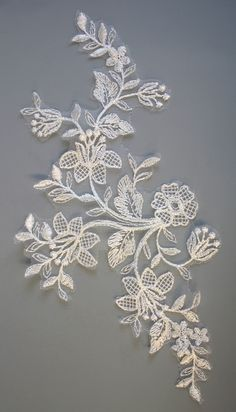Large Ivory embroidered lace applique,with unusual floral design, measures x Freeform Crochet, Crochet Lace, Embroidered Lace, Lace Applique, Sculpture Art, Sculptures, Ren, Floral Lace, Appliques