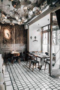 Restaurant Interior Design, Cafe Interior, Shop Interior Design, San Francisco Girls, Leather High Heel Boots, Cashmere Beanie, Photocollage, Brick And Mortar, Cafe Restaurant