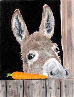 Donkey Art Print, Carrot Art, Donkey Decor - Fine Art Print from an Original Pawstel - Donkey Art, Carrot Art – Fine Art Matted Giclee Print of an Original Pastel Portrait - Animal Paintings, Animal Drawings, Art Drawings, Donkey Drawing, Portraits Pastel, Art Pastel, Cute Donkey, Art Mat, Contemporary Abstract Art