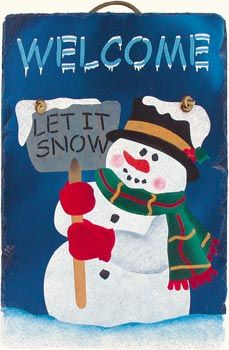 Outdoor Slate Welcome Signs | Let It Snow Slate Welcome Sign | MonsterMarketplace.com