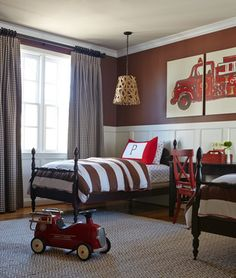 How cute, a fire truck themed bedroom for the kids