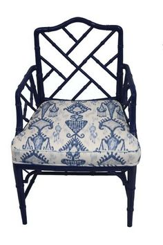 Navy Chippendale chair with Ikat fabric cushion.